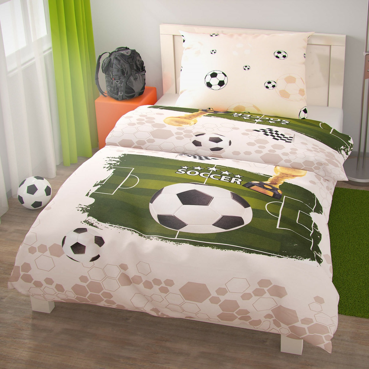 Kvalitex Bavlněné povlečení Fotbal, 140 x 200 cm, 70 x 90 cm