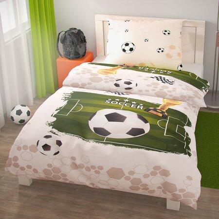 Kvalitex Pościel bawełniana Piłka nożna, 140 x 200 cm, 70 x 90 cm