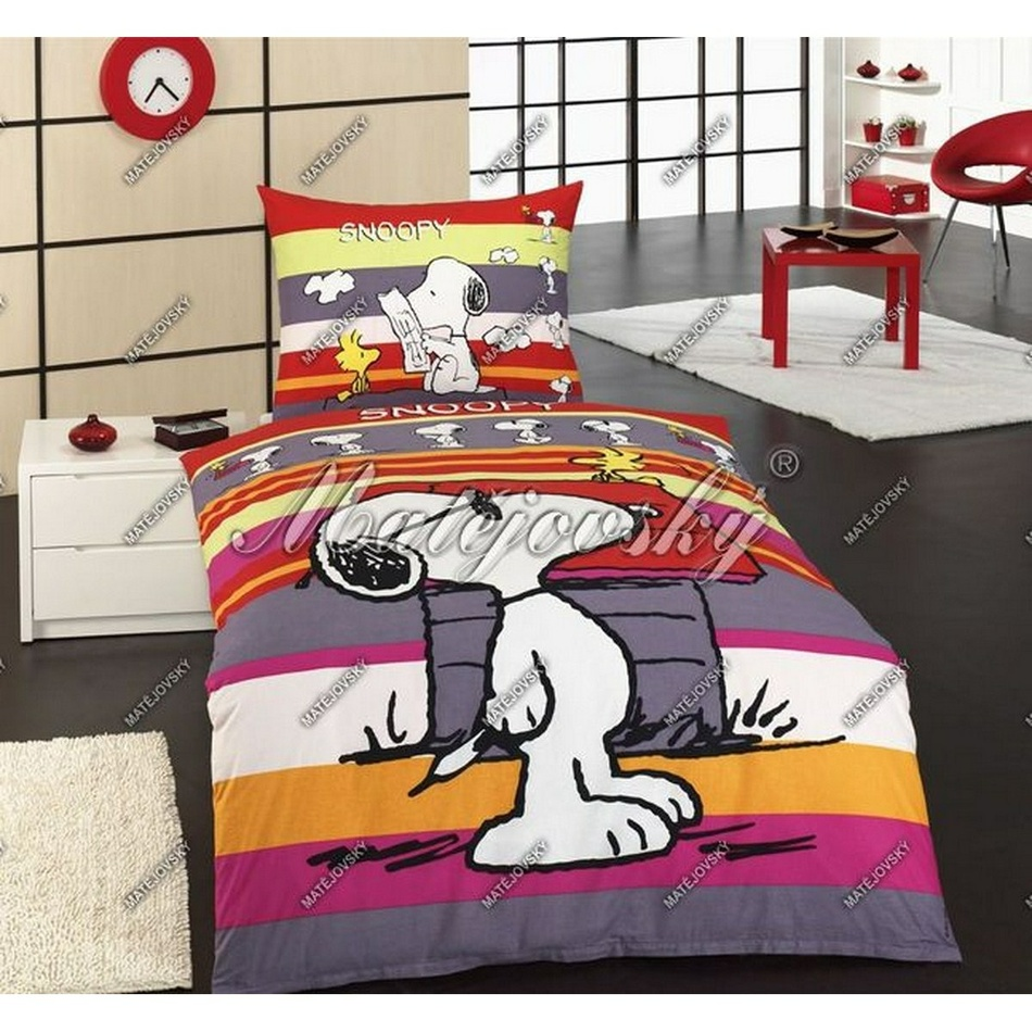 Matějovský detské obliečky Snoopy promenade, 140 x 200 cm, 70 x 90 cm
