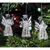 Skleněný anděl stříbrný, sada 3 kusů, stříbrná