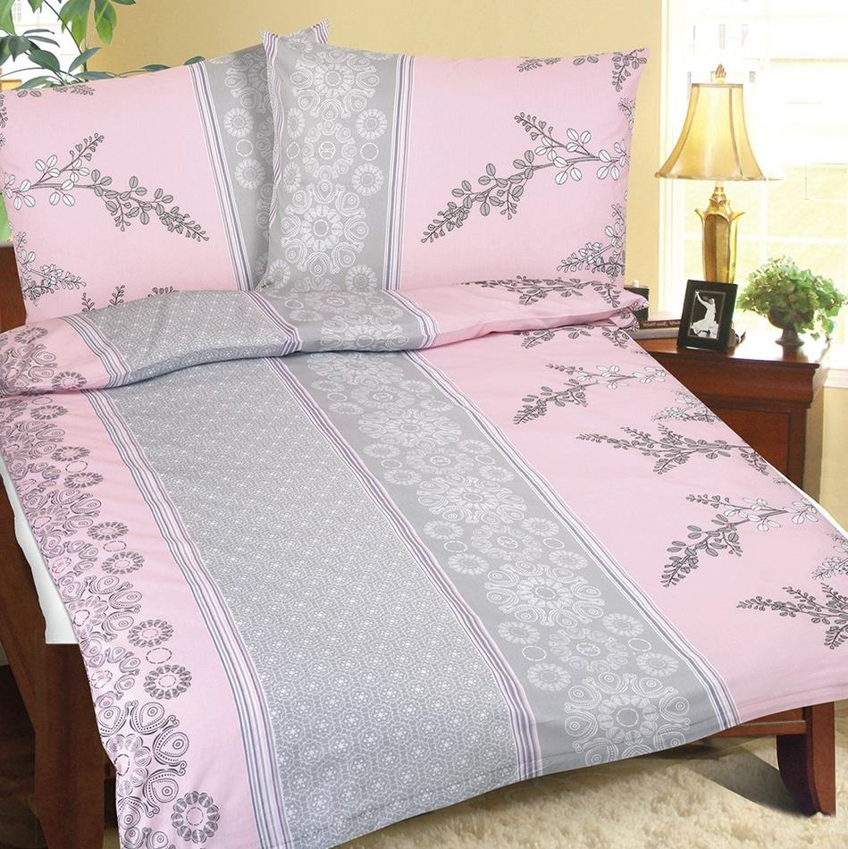 Bellatex Bavlnené obliečky Krík ružovo-sivá, 140 x 220 cm, 70 x 90 cm, 140 x 220 cm, 70 x 90 cm
