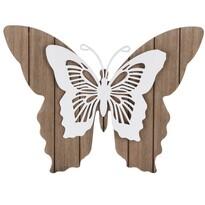 Dřevěná závěsná dekorace Motýlí mámení, bílá