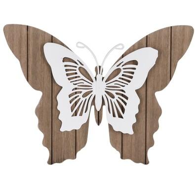 Drevená závesná dekorácia Motýlie mámenie, biela