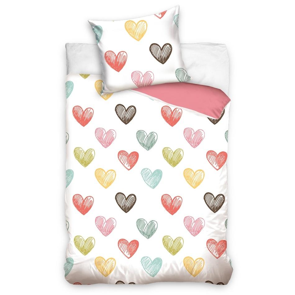BedTex Bavlnené povlečení Color Hearts, 140 x 200 cm, 70 x 90 cm