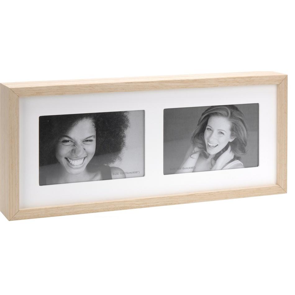 Fotorámeček Wood na 2 fotografie, bílá + béžová