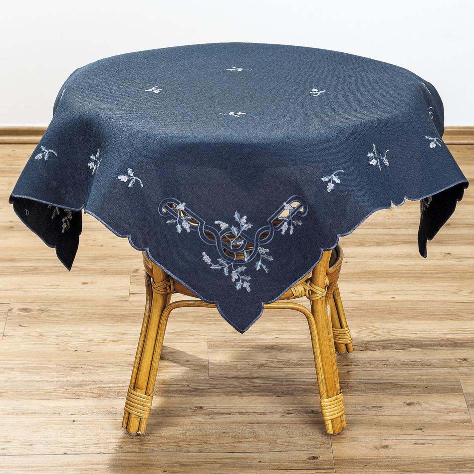 Forbyt Vánoční ubrus jmelí modrá, 85 x 85 cm