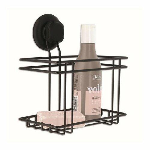 Malá polička do koupelny Compactor Bestlock Black s přísavkou -bez vrtání, nosnost až 6 kg