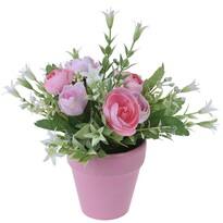 Koopman Művirág rózsacsokor virágcserépben rózsaszín, 21 cm