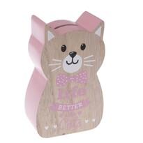Drewniana skarbonka Kot, różowy, 10x 16x 5 cm