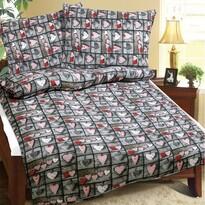 Lenjerie de pat din crep Inimă, 140 x 200 cm, 70 x 90 cm