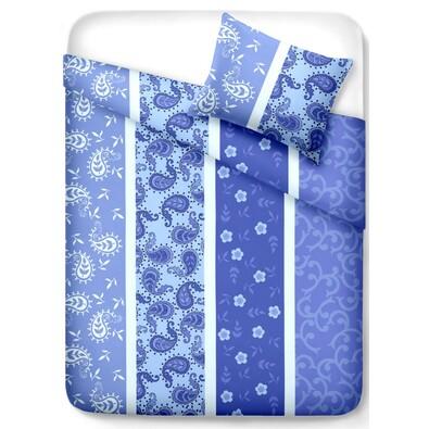 Krepové povlečení Pallas Vzor modrá, 140 x 200 cm, 70 x 90 cm