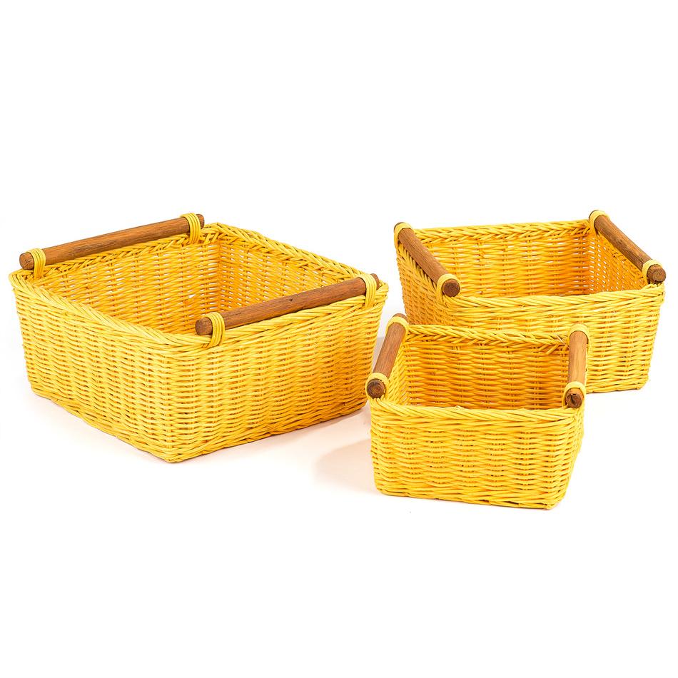 Ratanový košík farebný, set 3, varianta žltá