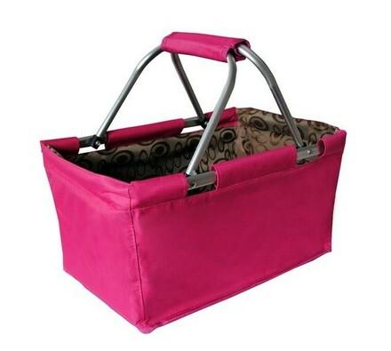Nákupní skladací košík růžová 29 l, růžová