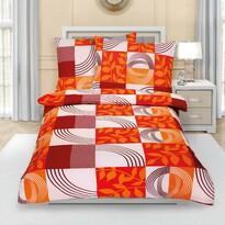 Lenjerie crep Patchwork, portocaliu, 140 x 200 cm, 70 x 90 cm
