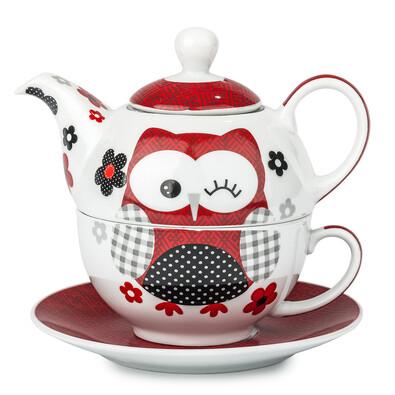 3dílná čajová sada Červená sova
