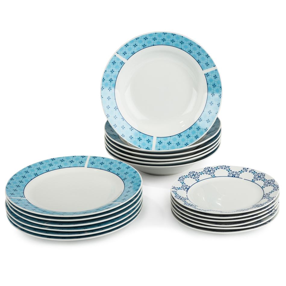 18dílná sada talířů Klaudia, porcelán, modrá