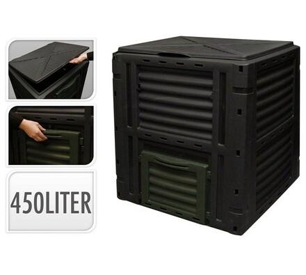 Kompostér, 450l, černá, 80 x 80 x 81 cm