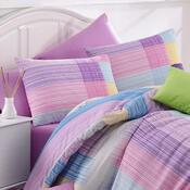 Bavlněné povlečení Karo fialová, 140 x 220 cm, 70 x 90 cm