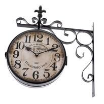 Ceas metalic suspendat Standard time, două fețe,38 x 40 cm