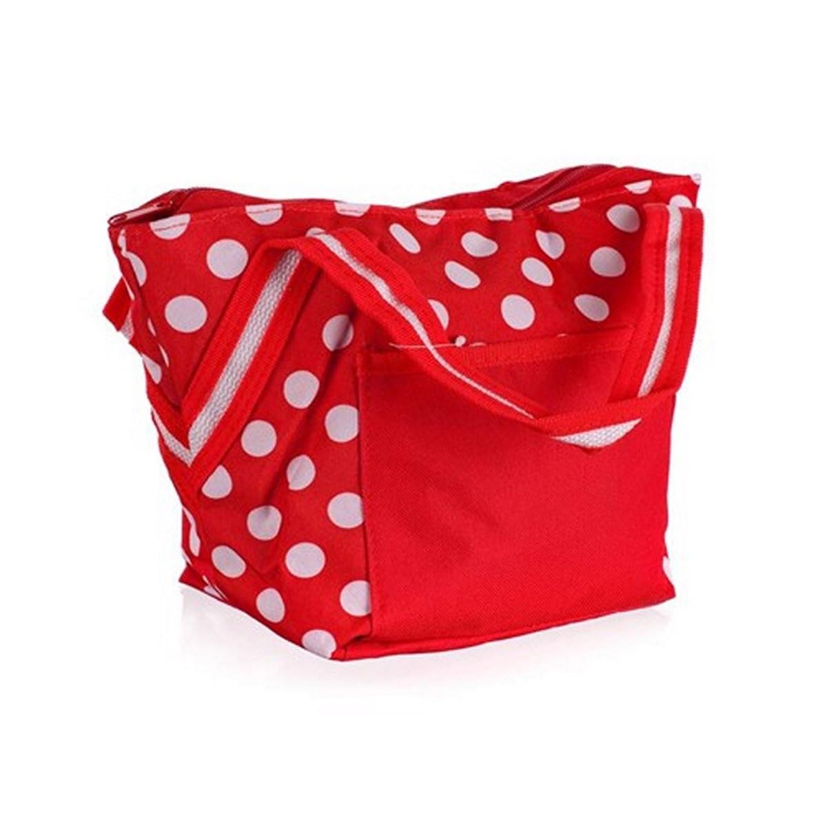 Chladící taška, červená s bílými puntíky, 8 l
