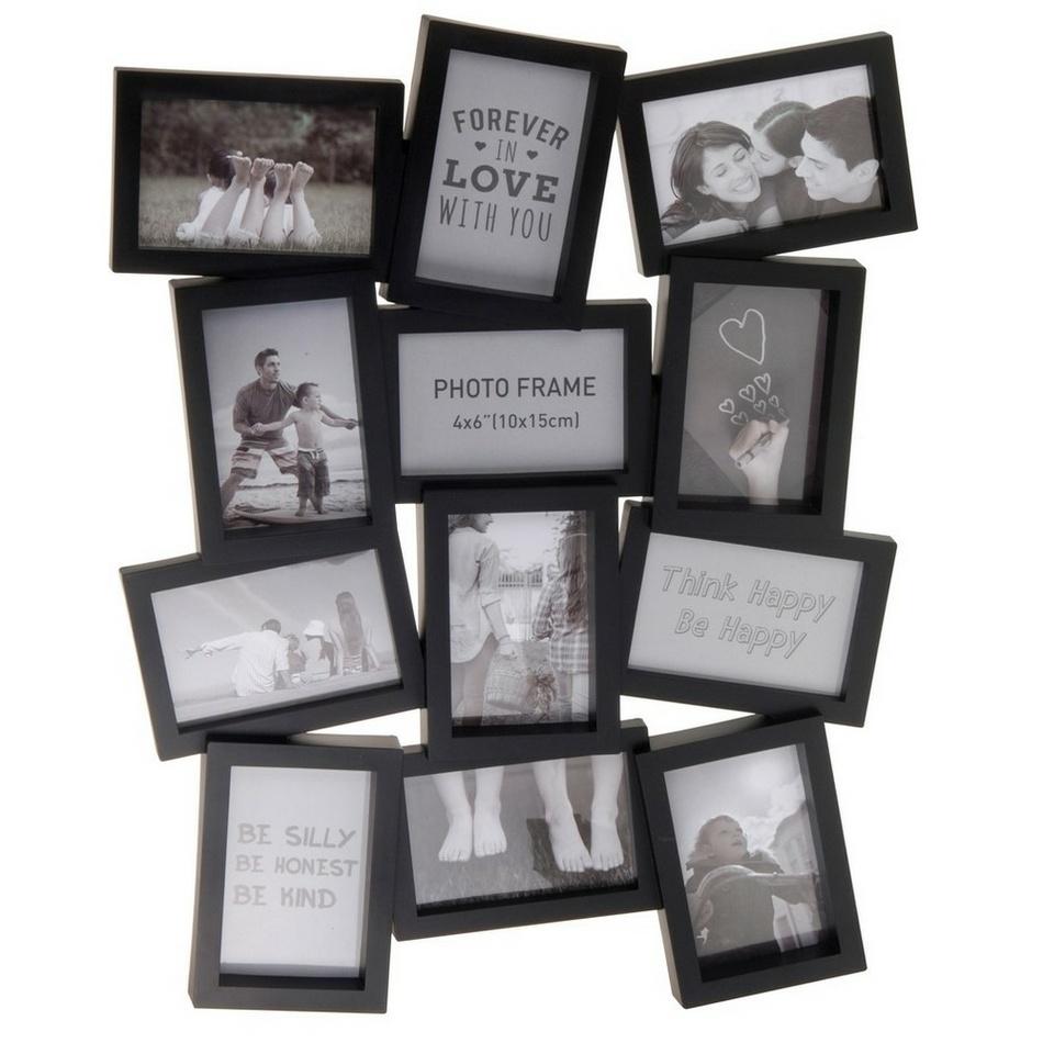 Fotorámček Marion 12 fotografií 10 x 15 cm, čierna, 48 x 63 cm