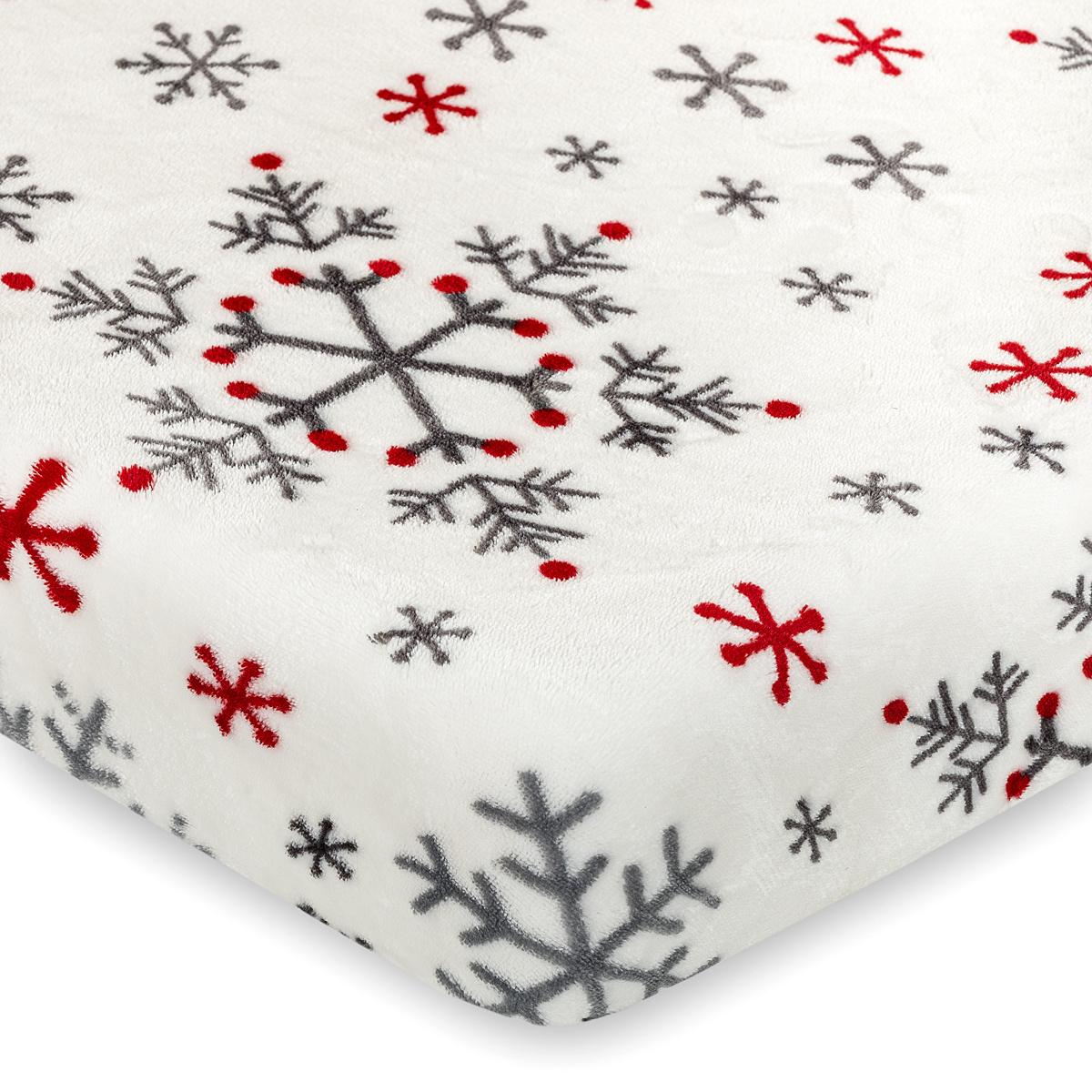 4Home Vánoční prostěradlo mikroflanel Snowflakes, 90 x 200 cm