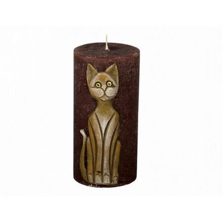 Dekorativní svíčka Kočka hnědá, 14 cm