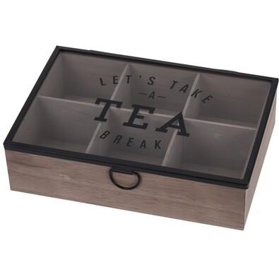 Teafiltertartó doboz üvegfedéllel, 6 rekeszes, MDF