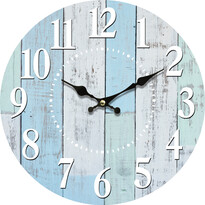 Ceas de perete, din lemn, Blue deck, diam. 34 cm