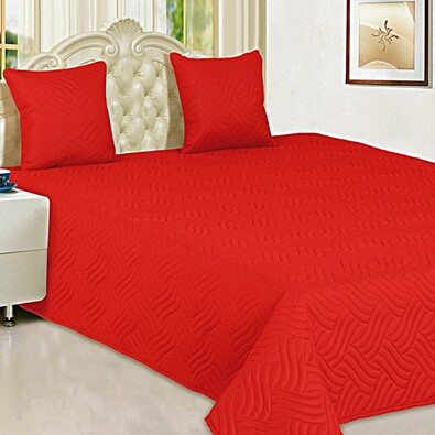 Přehoz Vigo červená, 220 x 240 cm, 2 ks 40 x 40 cm