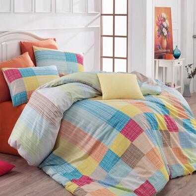 Bavlněné povlečení Karo oranžová, 140 x 220 cm, 70 x 90 cm