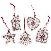 Závěsná vánoční dekorace Folklor bílá, 5 ks