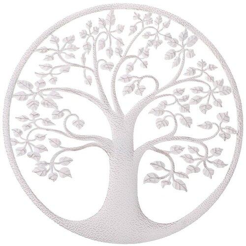 Kovová nástěnná dekorace Strom života, bílá, 40 x 1 x 40 cm