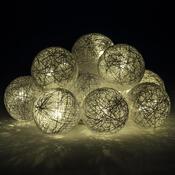 Světelný řetěz kouličky Raffia, 10 LED