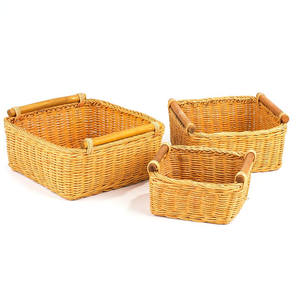 Ratanová košík oranžová, 3 ks,