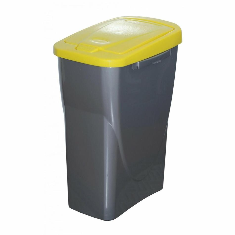 Koš na tříděný odpad žluté víko; 61,5 x 42 x 25 cm; 40 l; plast