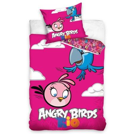 Dětské bavlněné povlečení Angry Birds Rio Pink Bird, 140 x 200 cm, 70 x 80 cm