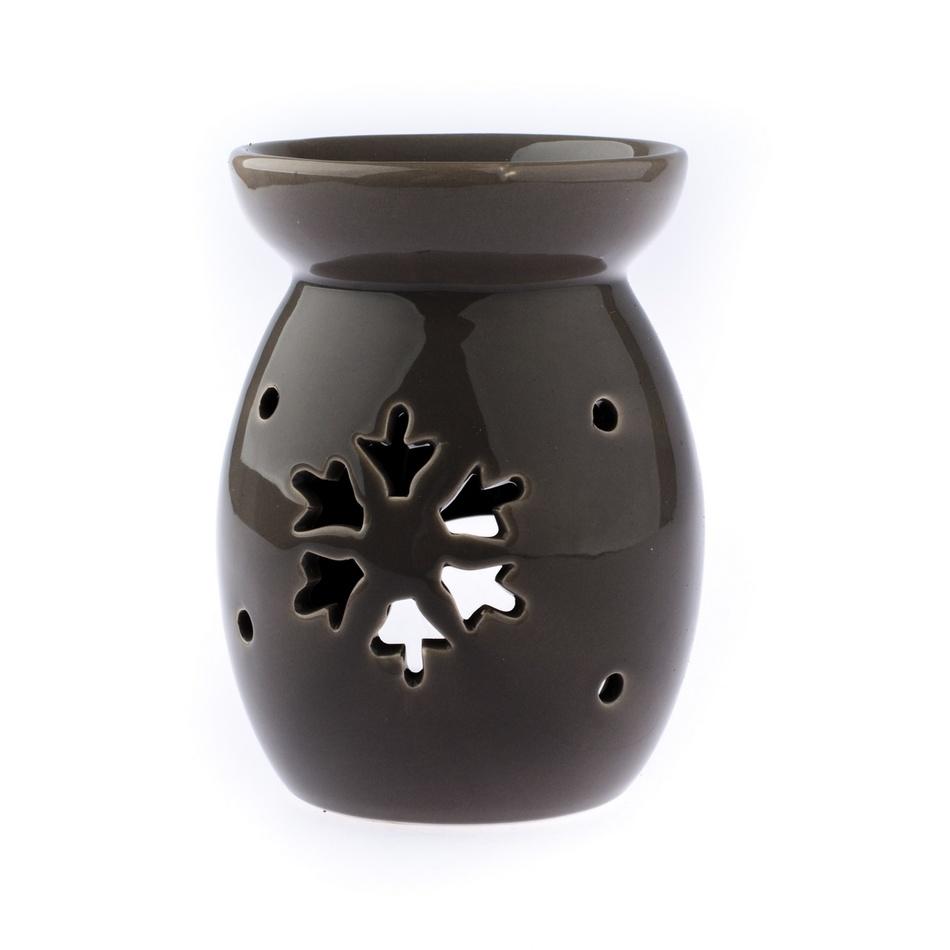 Keramická aromalampa Vločka, sivá