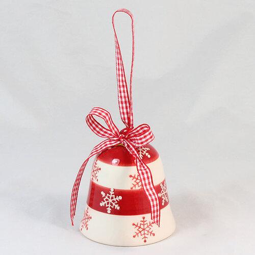 Keramický zvonček 8 x 8,5 cm, červená