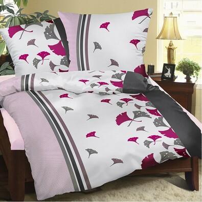 Krepové obliečky Vejáriky purpurová, 140 x 220 cm, 70 x 90 cm