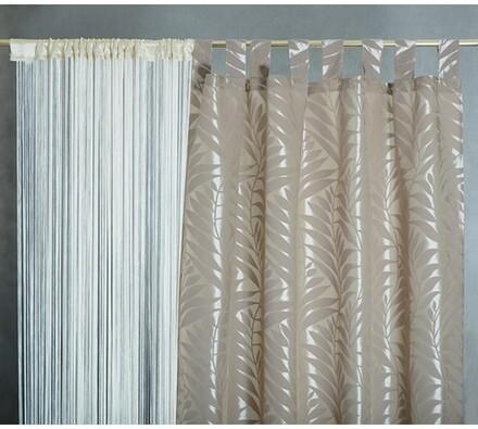 Závesy PALME, 140 x 250 cm, béžové, bílá + béžová, 140 x 250 cm