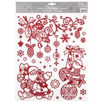 Dekoracja świąteczna na okno Happy Christmas, czerwony