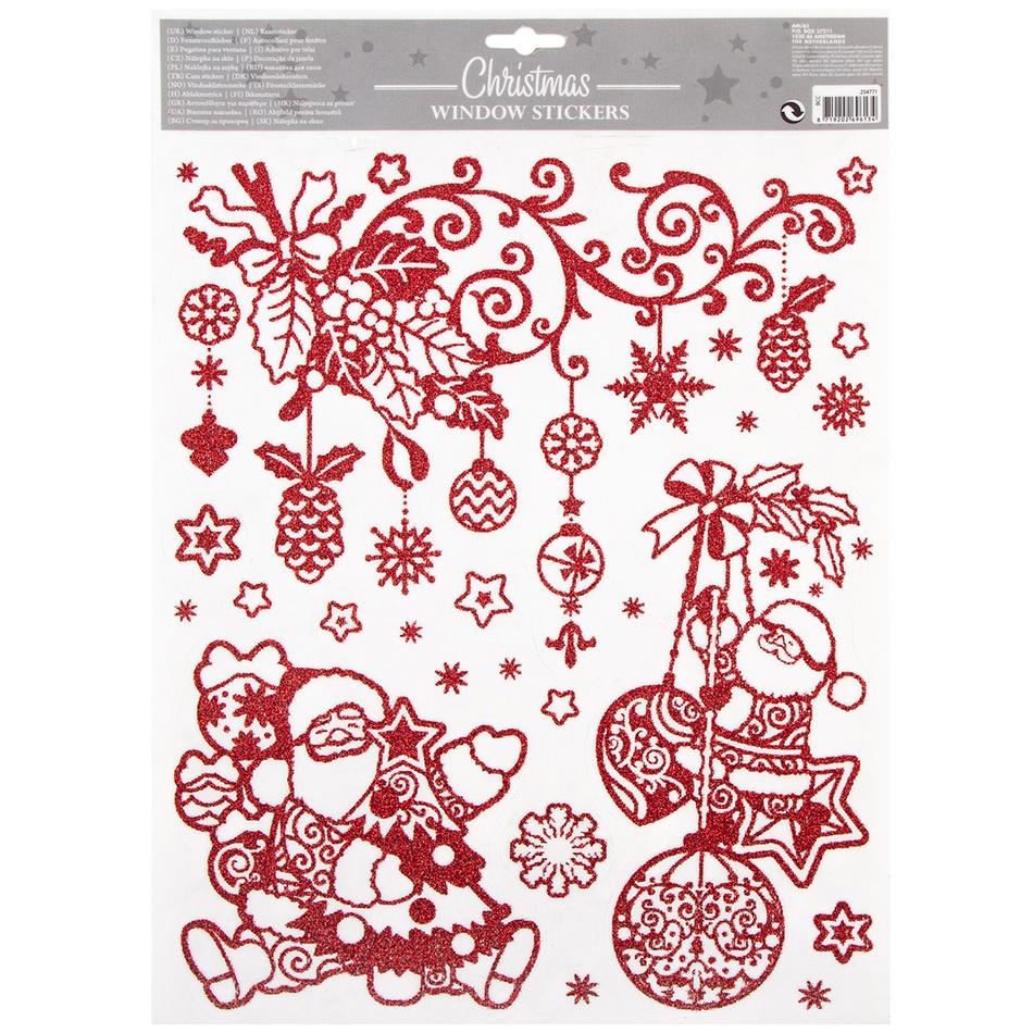 Vánoční okenní dekorace Happy Christmas, červená