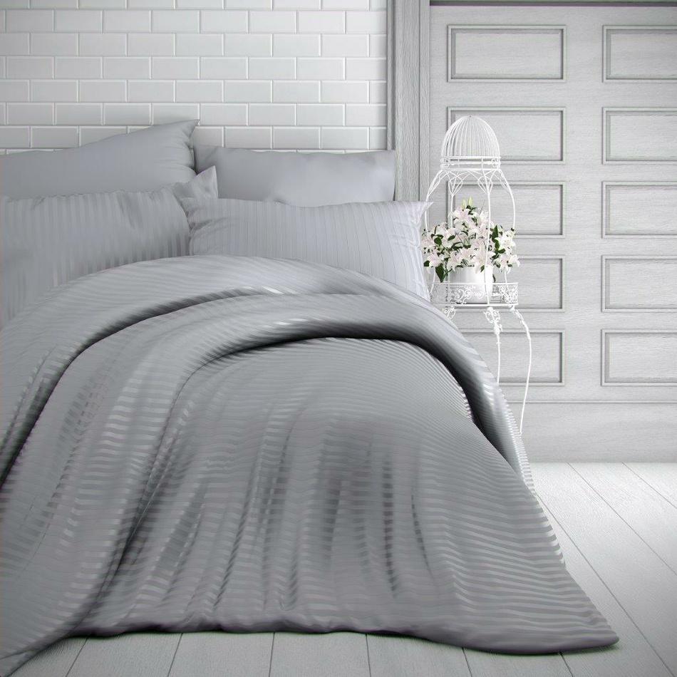 Kvalitex Saténové obliečky Stripe svetlosivá, 240 x 220 cm, 2 ks 70 x 90 cm