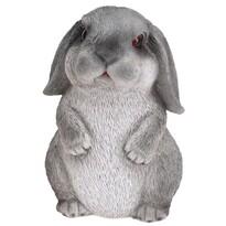 Polyresinová dekorácia sediaci králik Bunn sivá, 15 cm
