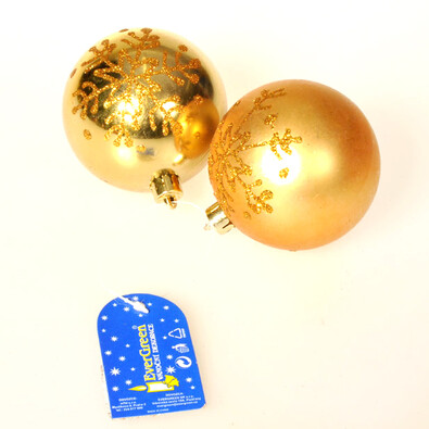 Koule s vločkami zlatá, pr. 8 cm, sada 2 ks, zlatá