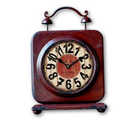 Stolní hodiny kovové červené