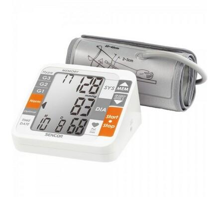 Tlakoměr Sencor SBP 690, bílá + šedá, 12 x 14 x 7 cm