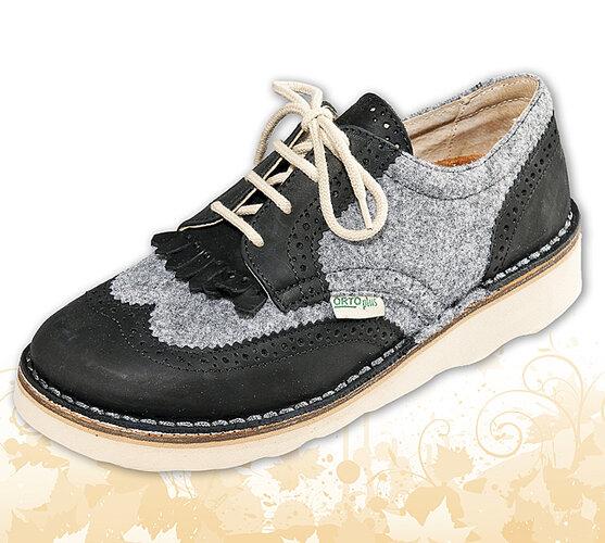 Dámska členková obuv so zaväzovaním na šnúrky, čierna, 36