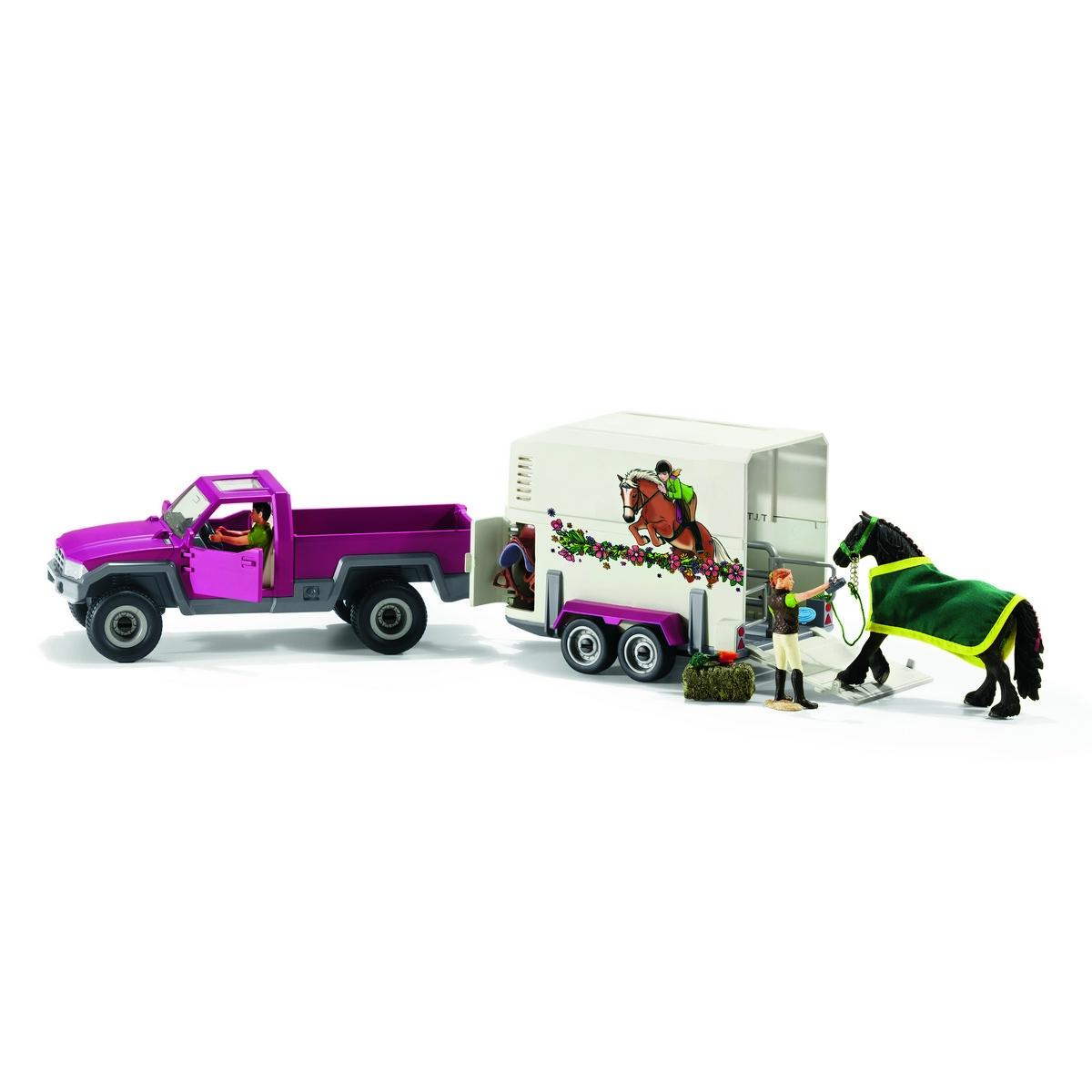 Schleich Pick-up s přívěsem a koněm, 51,5 cm